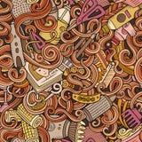 Салона парикмахерских услуг doodles шаржа картина милого безшовная Стоковое Изображение RF