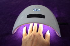 Салон геля ногтя УЛЬТРАФИОЛЕТОВАЯ лампа с таймером Стоковая Фотография