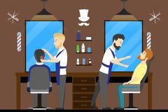 Салон парикмахерскаи внутрь Стоковые Фотографии RF
