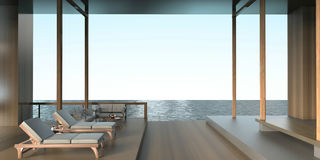 Салон современное современное Sundeck пляжа на виде на море Стоковые Фотографии RF