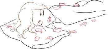 Салон спы серии - массаж, нагая женщина с поднял  Стоковая Фотография RF