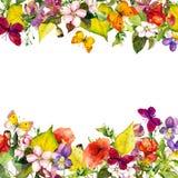 Сад осени: листья желтого цвета, цветки флористическая картина безшовная акварель Стоковая Фотография