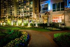 Сады вдоль дорожки и гостиницы highrise на ноче, в Virgini Стоковое Изображение RF