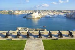 Салютуя батарея, Валлетта, Мальта Стоковое Фото