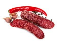 Салями с chili и чесноком Стоковые Фото
