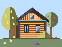 Сад whith дома в плоском стиле Стоковые Фотографии RF