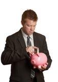 сбережениа банка buisinessman piggy Стоковое Изображение