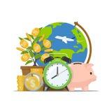 сбережениа дег банка piggy кладя Инвестировать времени Концепция дела экономического роста Иллюстрация вектора в плоском стиле иллюстрация вектора