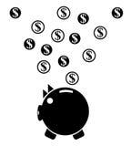 сбережениа дег банка piggy кладя Стоковое Изображение RF