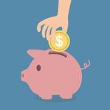сбережениа дег банка piggy кладя бесплатная иллюстрация