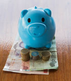 сбережениа дег банка piggy кладя Стоковые Изображения RF