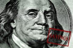 100 сбережений долларовой банкноты Стоковое фото RF