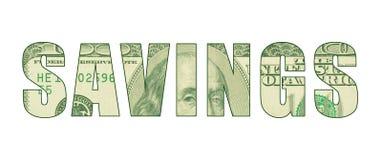 ` СБЕРЕЖЕНИЙ ` слова с картиной денег иллюстрация вектора