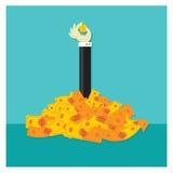 Сбережения апельсина вектора наличных денег капиталовложений предприятий установленные Стоковая Фотография