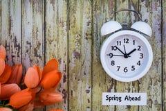 Сбережения дневного света приурочивают верхнюю часть концепции весны вперед вниз осматривают с белыми тюльпанами часов и апельсин стоковая фотография rf