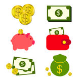 Сбережения денег и монетки бесплатная иллюстрация