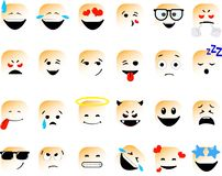 сборка смайловSet of vector emoticons in line style, emoji isolated on white background. Cute icons stock illustration