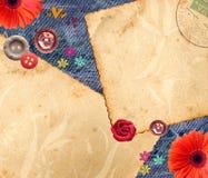 сбор винограда джинсовой ткани предпосылки Стоковые Изображения