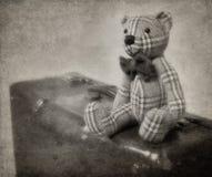 сбор винограда игрушечного чемодана типа медведя Стоковая Фотография