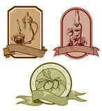 сбор винограда комплекта ярлыков Иллюстрация вектора