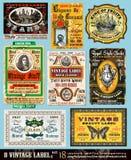 сбор винограда комплекта 18 ярлыков собрания иллюстрация штока