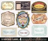 сбор винограда комплекта 4 ярлыков собрания Стоковое Изображение RF