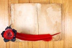 сбор винограда красного цвета пер пера книги Стоковое Изображение