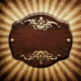 сбор винограда металлической пластинкы деревянный Стоковая Фотография