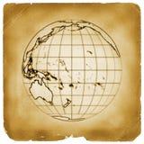 сбор винограда планеты глобуса земли старый бумажный иллюстрация вектора