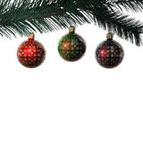 сбор винограда рождества 3 ветви шариков Стоковые Фото