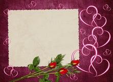 сбор винограда старой бумаги карточки розовый Стоковые Фотографии RF