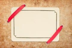 сбор винограда тесемки пустой карточки красный Стоковое Изображение RF