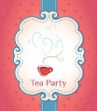 сбор винограда чая типа партии приглашения рамки Стоковое Изображение