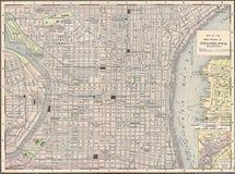 сбор винограда 1891 philadelphia карты города стоковое фото