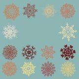 сбор винограда 8 снежинок eps карточки Стоковые Фотографии RF