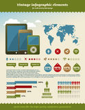 сбор винограда infographics элемента Стоковые Изображения