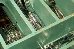 сбор винограда silverware ящика Стоковая Фотография RF