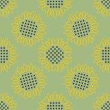 сбор винограда бумаги орнамента предпосылки геометрический старый Картина солнцецветов безшовная Стоковое Фото