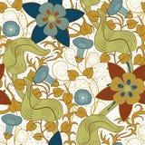 сбор винограда вектора флористической картины безшовный предпосылка цветет белизна Стоковые Изображения RF