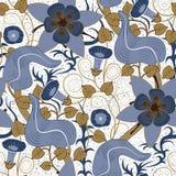 сбор винограда вектора флористической картины безшовный предпосылка цветет белизна Стоковые Изображения