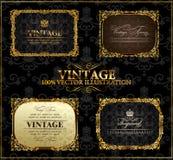 сбор винограда вектора ярлыка золота рамок декора Стоковая Фотография