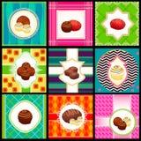 сбор винограда комплекта карточки конфеты Стоковое Изображение RF