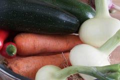 Сбор, моркови и луки осени лежат около courgette и чилей, конца-вверх овощей стоковая фотография rf