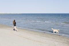 Сбрасывание молодой женщины идя с ее собакой стоковое изображение