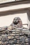Сброс на фасаде старого здания, деревянного льва, Праги, чехии Стоковое фото RF