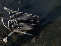 Сброшенная магазинная тележкаа появляется в малую воду на реке кашевара, Сиднее, Австралии стоковое изображение rf