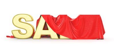 сбывание Красная ткань покрывает слово продажи иллюстрация вектора