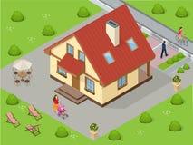 сбывание ренты домов квартир имущества реальное Большой выполненный на заказ роскошный дом с славно уравновешенным и благоустраив бесплатная иллюстрация