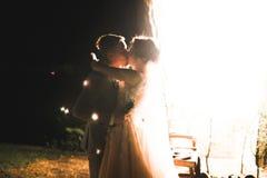 Свадебная церемония вечера Жених и невеста держа руки на предпосылке светов и фонариков стоковое фото rf