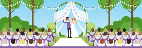 Свадебная церемония в парке лета, новобрачных под сводом и их гостях сидя на иллюстрации вектора стендов горизонтальной иллюстрация штока